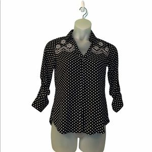 Express Black + White  Polka-Dots Embroidered Blouse Small. Top